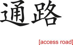 Chinese Sign for access road - stock illustration
