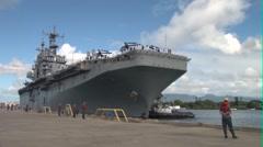 USS Peleliu Arrives at  Pearl Harbor Stock Footage