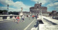 Italy Rome castle di Angelo bridge time lapse 4k Stock Footage