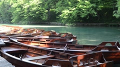 Boats in Plitvice National Park in Croatia - stock footage
