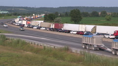 Epic traffic jam on highway in rush hour on hot summer day, heat waves rising.. - stock footage