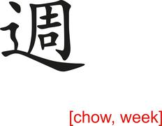 Chinese Sign for chow, week - stock illustration