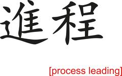 Chinese Sign for process leading - stock illustration