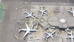 Aerial view of an international airport terminal - stock footage
