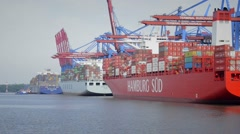 Container ships in the Burchardkai container terminal in Hamburg, Germany Stock Footage