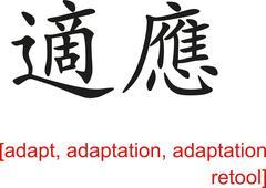 Chinese Sign for adapt, adaptation, adaptation retool - stock illustration