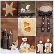 Natural christmas decoration with wood. different objects in square format. Stock Photos