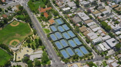 Aerial view of tennis courts - stock footage