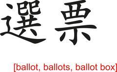 Chinese Sign for ballot, ballots, ballot box - stock illustration