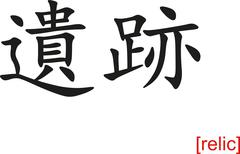 Chinese Sign for relic - stock illustration