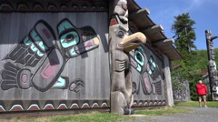 Totem Poles, Alaskan native art Stock Footage