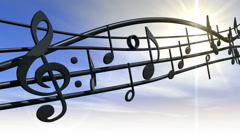 Musical Note against Blue Sky and Sun HD Stock Footage