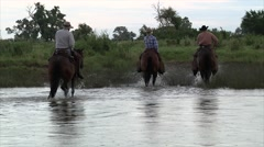 Cowboys on Horses Crossing River 3 Stock Footage