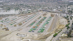 Aerial view of Los Angeles shipping port - stock footage