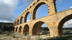 France dramatic view of the Pont du Gard Stock Footage