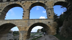 France Pont du Gard looking through arches  Stock Footage