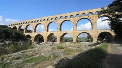 France Pont du Gard sun on arches  - stock footage