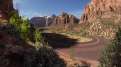 Hairpin turn traffic in Zion Valley - stock footage