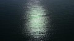 Aerial view of moonlit Ocean Stock Footage