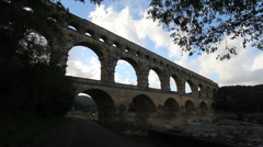 France Pont du Gard dark and dramatic  Stock Footage