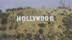 Aerial view of Hollywood Sign in Los Angeles - stock footage
