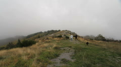 France Hiking in fog Corniche des Cevennes  Stock Footage