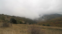France Clouds and fog creeping Corniche des Cevennes  Stock Footage