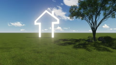 Animation Of The House On The green field - stock footage
