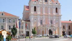 Church of St. Casimir in the old town of Vilnius, camera moves down Stock Footage