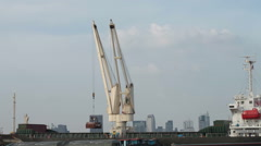 Crane in Ship Working Time Lapse Stock Footage