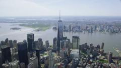 Aerial shot of One World Trade Center Freedom Tower Stock Footage