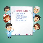 Doctors Presenting White Board - stock illustration