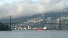 Lion Gates Bridge Vancouver - stock footage
