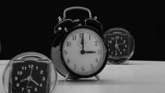 Awesome Rotating Clocks Black and White Time HD Stock Footage