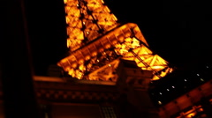 Las Vegas - Pan To Lamppost And Eiffel Tower Stock Footage
