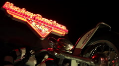 Las Vegas - Harley Davidson Sign And Motorcycle Stock Footage