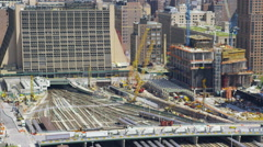 Aerial view of New York Skyscraper Development Stock Footage