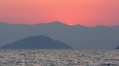 Real-time Sunset Over Mediterranean Ocean and Turkish Mountains (part 6 of 6) Stock Footage