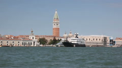 Piazza San Marco with Campanile and Doge Palace seen from the canal Stock Footage