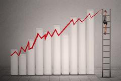 Businesswoman makes business graph Stock Illustration