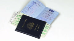 Passports & Airplane Ticket RotatingHD Stock Footage