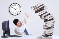 fat businessman having many tasks  - stock illustration