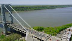 Aerial view of George Washington Bridge New York City Stock Footage