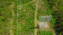 Aerial view of Electricity Pylons in America - stock footage