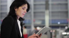 business woman using tablet computer - stock footage