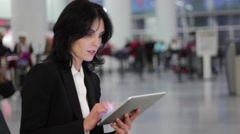 woman using tablet computer - stock footage