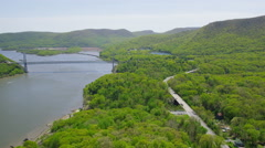 Aerial view of bridge over Hudson River New York Stock Footage