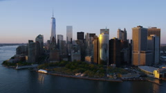 Stock Video Footage of Aerial view of sunset over  New York City