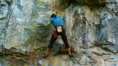 Bouldering Girl Climbing HD - stock footage