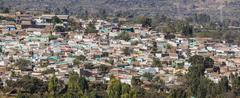 Bird eye view of ancient walled city of jugol. harar. ethiopia. Stock Photos